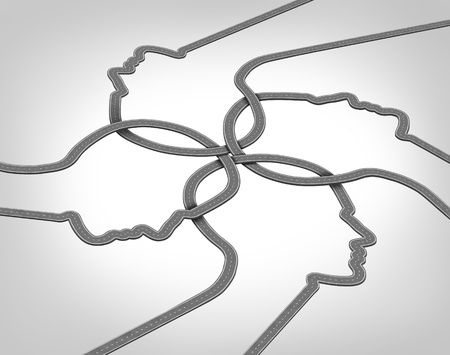 Photo pour Network team business concept with a group of merging roads and highways shaped as a human head converging and coming together connected as a community partnership tat are crossing paths  - image libre de droit