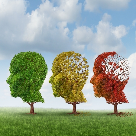 Photo pour Brain aging and memory loss due to Dementia and Alzheimer - image libre de droit