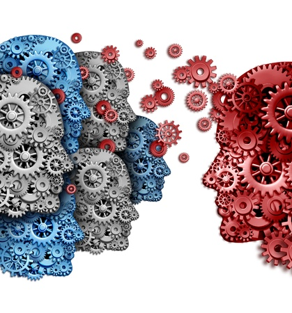 Foto de Business training group organization as a company team of students learning from a mentor in red sharing a common strategy and vision for education success as gears and cogs shaped as a human head on a white background  - Imagen libre de derechos