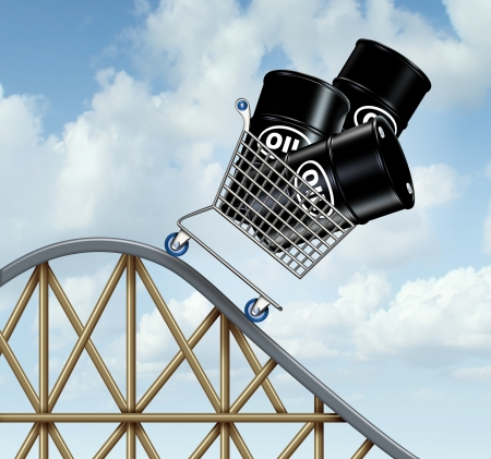 Falling oil prices and plunging fuel costs as a group of oil barrels or steel drum containers in a shopping cart going down on a roller coaster as a business concept of low energy pricing and the unstable nature of commodities
