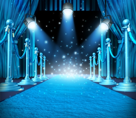 Foto de In the spotlight and center of attention or limelight with blue glowing lights on stage as a concept for entertainment with roped barriers and cyan glowing light with shiny sparkles as an important show event background  - Imagen libre de derechos