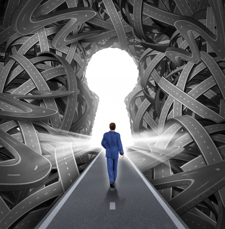 Foto de Direction solutions as a business leadership concept with a businessman walking to a glowing key hole shape opening as a straight path to success choosing the right strategic path cutting through a confused maze of tangled roads and highways  - Imagen libre de derechos