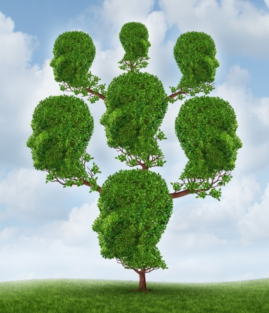 Photo for Family tree and community network as a social and business relationship concept as a plant shaped as a group of connected human heads growing together in a partnership for success on a sky background  - Royalty Free Image