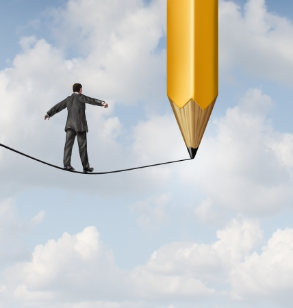 Risk planning and leadership solutions with a businessman walking on a dangerous tight rope with a pencil drawing the future path with the road ahead as a business concept of adapting to change for success