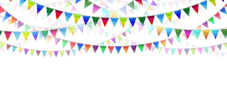Photo for Bunting flags on a white background as an advertising and marketing icon of happy celebration for a birthday or special event as a horizontal design element for communication  - Royalty Free Image