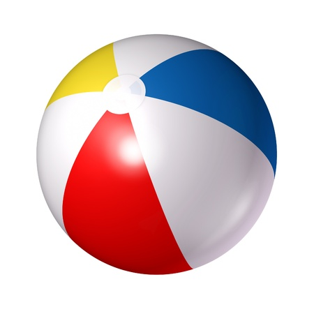 Photo pour Beach ball isolated on a white background as a classic symbol of summer fun at the pool or ocean with an inflated plastic sphere of red blue white and yellow stripes  - image libre de droit