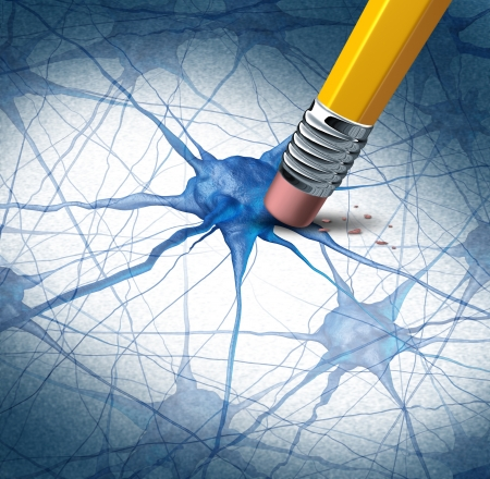 Foto de Brain disease dementia problems with loss of memory function for alzheimers as a medical health care icon of neurology and mental illness as a pencil erasing neuron cells from the human anatomy  - Imagen libre de derechos