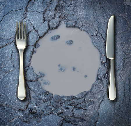 Photo pour Poverty and hunger concept with a fork and knife on a broken asphalt road shaped as a dinner plate as a social problem of food shortage hardships caused by financial distress or natural disaster resulting in living poor on the streets as a health risk  - image libre de droit