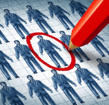 Photo for Career search and job searching hiring the right candidate as an employment concept with drawings of businessmen in a network and a red pencil selecting the most qualified leader as a symbol of internet recruitment services  - Royalty Free Image