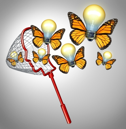 Photo pour Gather ideas creativity concept with a butterfly net shaped as a human head collecting inovative solutions as a group of flying illuminated light bulbs with insect wings for business success  - image libre de droit