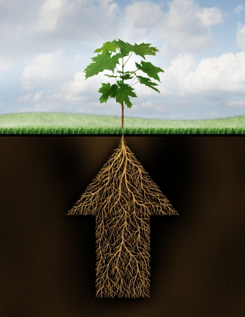 Photo pour Root of success as a growth business concept with a new sprouting tree emerging from underground roots shaped as an arrow that is going up as a financial symbol of future investment potential  - image libre de droit