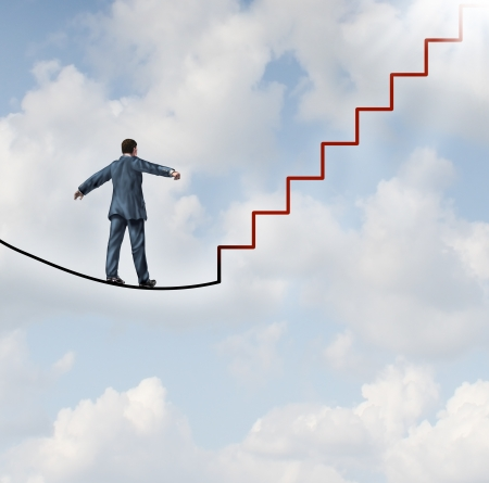 Foto de Risk solutions and adapting to change as a business idea with a businessman walking on a dangerous high wire tightrope that transforms into a red staircase leading to a clear path to future opportunity and success  - Imagen libre de derechos