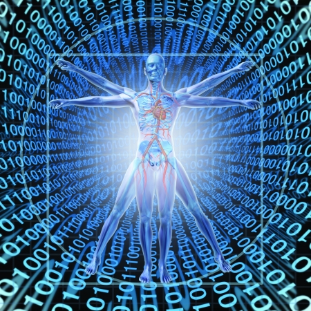 Photo pour Medical Records Technology with a vitruvian man over a background of digital binary code as a health care symbol of electronic data storage at a central server network available in the cloud for a hospital or clinic patient convenience  - image libre de droit