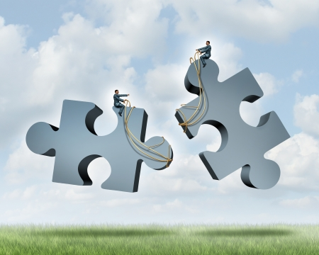 Managing a partnership as an agreement or contract to work together for financial success as two business people steering with a harness giant jigsaw puzzle pieces as a concept of team cooperation