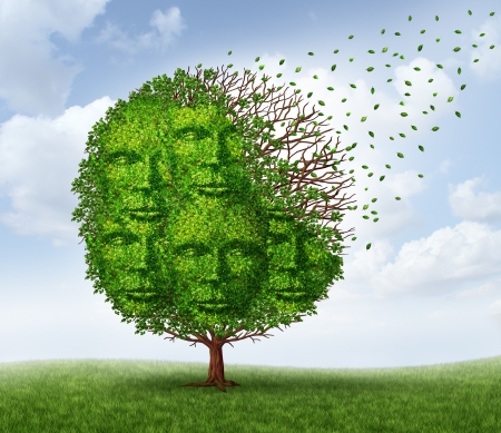 Photo pour Community loss and losing social connections as a business and lifestyle concept with a green tree that is losing leaves as in the autumn season shaped as a group of human heads  - image libre de droit