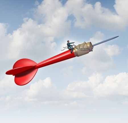 Foto de Goal leadership and focused management business concept with a businessman sitting on a flying giant red dart guiding and steering the direction using a harness to reech the planned target to career and company success  - Imagen libre de derechos