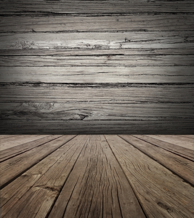 Photo for Old wood stage background with vertical natural distressed antique wooden plank floor and horizontal weathered wall as an aged grunge back drop  with copy space  - Royalty Free Image