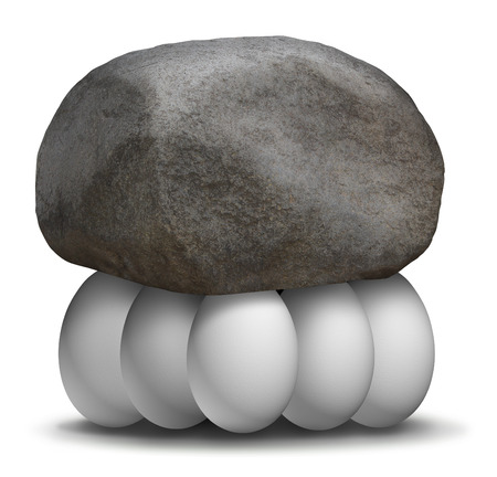 Photo pour Group strength organization business concept with a rock or boulder being lifted and supported by a team of white eggs working together to create a strong partnership to achieve greater goals in solidarity  - image libre de droit