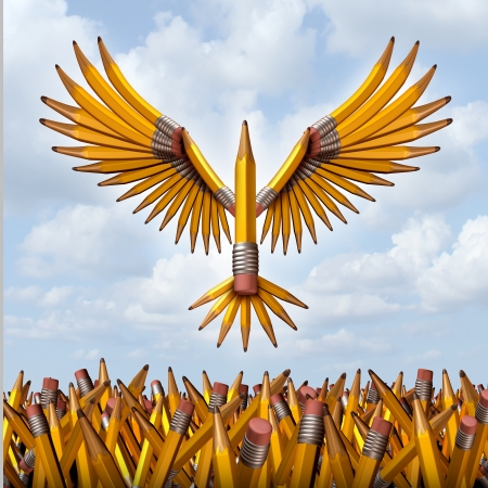 Foto de Take flight creative success concept with a group of three dimensional yellow pencils in the shape of a bird taking off and escaping confusion to freedom as a symbol of  education programs and creativity in business innovation - Imagen libre de derechos
