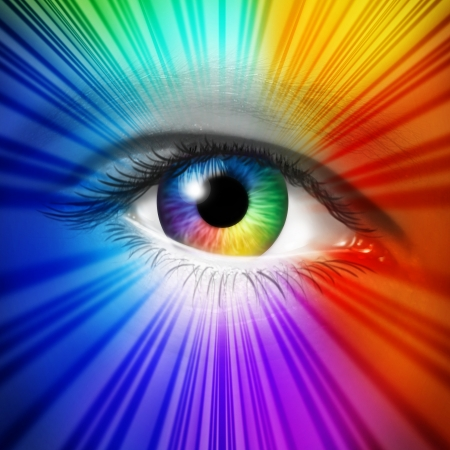 Photo pour Spectrum Eye concept as a human iris and pupil with reflective multicolored starburst effect as a metaphor for fashion beauty and cosmetics or the power of creative vision  - image libre de droit