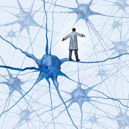 Foto de Brain research challenges as a medical concept with a science doctor walking on a human neuron connection as a highwire tight rope metaphor through a maze of neurons as an icon of finding a cure for autism alzheimers and dementia  - Imagen libre de derechos