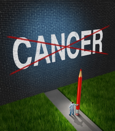 Photo pour Fight cancer and treatment for cancerous tumors health care symbol with a medical metaphor of hope with a doctor or hospital research scientist holding a red pencil crossing out the disease word painted on a brick wall  - image libre de droit