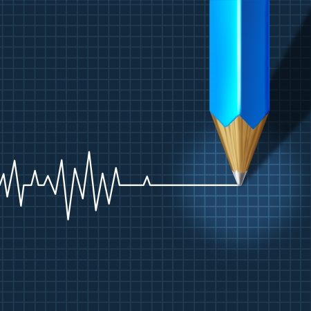 Photo for Euthanasia Medical Intervention as a medical health care concept of doctor social dilemma in end of life termination as a pencil drawing an ecg or ekg flatline on a monitor graph  - Royalty Free Image