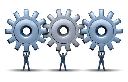 Photo pour Teamwork achievement business concept with a working group of three businessmen holding up gears and cog wheels connected together in a network for financial success through cooperation and planning as a team  - image libre de droit