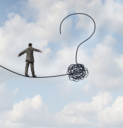 Photo for Risk uncertainty and planning a new journey as a businessman walking on a tight rope that getets tangled and shaped as a question mark as a metaphor for confusion at the road ahead as a business concept of finding solutions to change for success  - Royalty Free Image