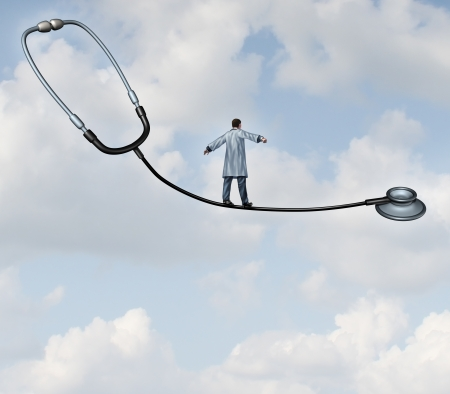 Photo for Medical decisions health care concept with a doctor in a lab coat walking a tight rope made from a stethoscope on a blue sky background as a metaphor for hospital therapy risk versus benefit as a balancing act for successful patient therapy  - Royalty Free Image