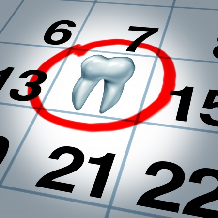Photo for Dentist appointment and dental check up health care concept as a month calendar with a tooth circled and highlighted as a reminder metaphor for a dentist visit time at a clinic for scheduled oral care  - Royalty Free Image