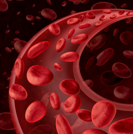 Foto de Blood cells circulation symbol as a medical health care concept with a group of three dimensional human cells flowing through a dynamic artery or vein connected to the circulatory system   - Imagen libre de derechos