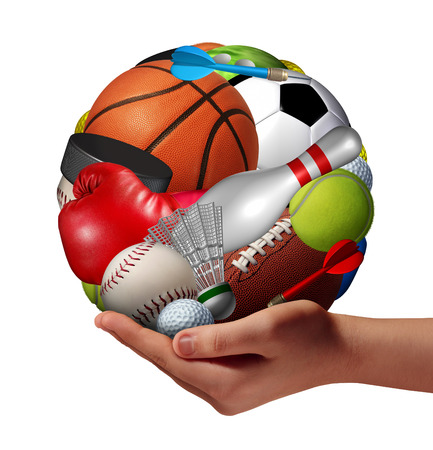 Photo for Active lifestyle concept and fun and games symbol with a hand holding a group of sports equipment shaped as a ball as a healthy fitness metaphor for offering physical activity recreation to youth as a pastime  - Royalty Free Image
