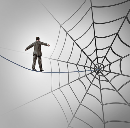 Photo pour Businessman trap business concept with a tightrope walker walking on a wire leading to a giant spider web as a metaphor for adversity and deception of being lured to a financial ambush or recruiting new career candidates  - image libre de droit