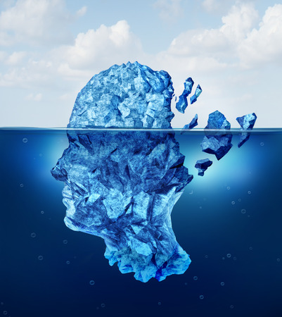 Foto de Brain trauma and aging or neurological damage concept as an iceberg floating in an ocean breaking apart as a health crisis metaphor for human mental stress and a symbol for psychology and psychiatric problems  - Imagen libre de derechos