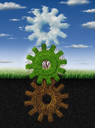 Photo pour Connected environment nature concept and renewable energy metaphor as roots tree plant and clouds shaped as a group of gears and cogs working together as a symbol of industry networking cooperation  - image libre de droit