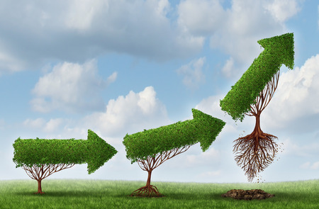 Foto de Business launch success symbol as a group of trees shaped as an arrow gradually maturing lifting off upward as a metaphor for soaring profits and the opportunity or potential of strong investment growth  - Imagen libre de derechos