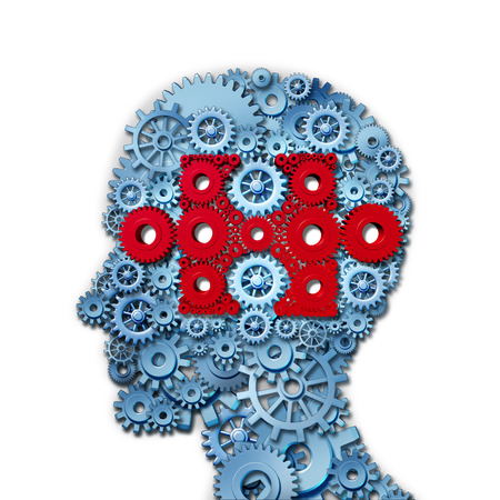 Foto de Psychology puzzle head concept with a human face in side view made of connected gears and cogs with a group of red cog wheels shaped as a jigsaw piece as a medical metaphor for cognitive intelligence function  - Imagen libre de derechos