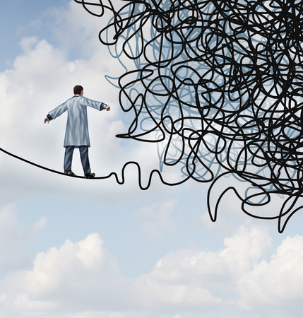 Photo pour Doctor Stress medical concept as a physician in a lab coat walking on a tightrope that becomes tangled and confused in chaos as a health care metaphor for uncertainty in the field of medicine  - image libre de droit
