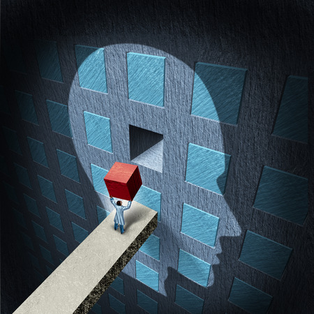 Foto de Psychology therapy concept with a doctor holding a red block to repair a compartmentalized human brain as a mental health symbol for psychiatry and neurology treatment by a surgeon or research scientist  - Imagen libre de derechos