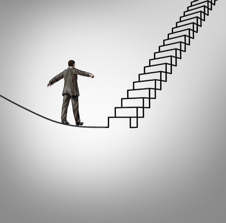 Foto de Risk opportunity and danger management business concept with a businessman balancing on a tightrope shaped as upward stairs or stairway as a financial career metaphor for overcoming difficult challenges and reducing uncertainty  - Imagen libre de derechos