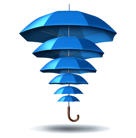 Foto de Increased business protection and growing community security concept with a blue umbrella metaphor changing in size from small to big protecting multiple smaller umbrellas connected together in a social network to protect team members  - Imagen libre de derechos