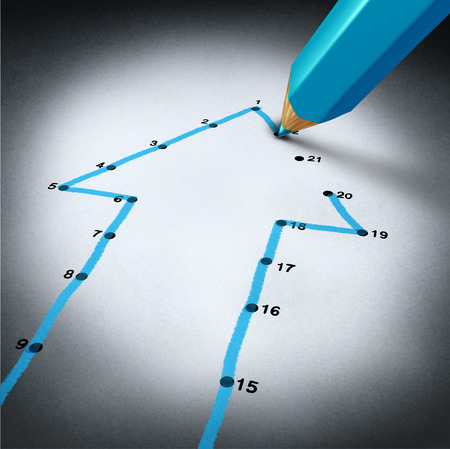 Photo pour Success strategy and step by step business planning as a blue pencil drawing connection lines to connect the dots on a puzzle shaped as an arrow going up as a financial metaphor for a successful planned personal project  - image libre de droit