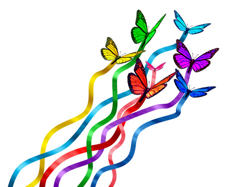 Photo pour Creative release concept as a group of butterflies as colors of the rainbow with silk  - image libre de droit