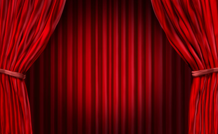 Photo for Entertainment curtains background for movie performances at a theater stage - Royalty Free Image