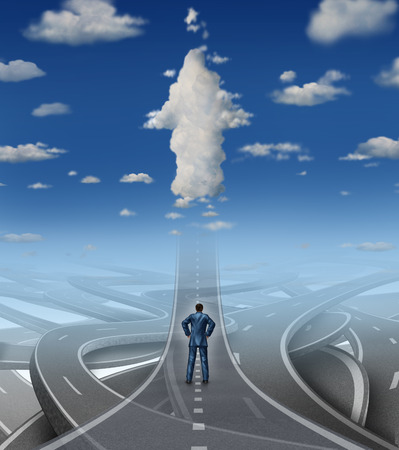 Foto de Career development business concept as a businessman standing in front of a group of tangled roads and streets with one straight highway leading to an arrow cloud as a metaphor for leadership vision overcoming stress and a confusion crisis  - Imagen libre de derechos