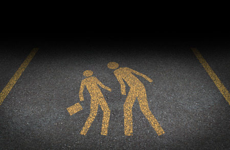 Photo for Big bully and bullying concept as yellow painted road sign on asphalt with an abusive bully attacking a another person as a symbol of the anxiety of being bullied and the social issues of human psychological abuse and fear  - Royalty Free Image