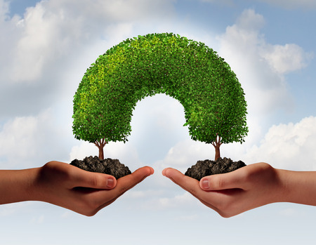 Foto de Multiracial hands unity concept as two human palms holding trees in soil growing together meeting to connect as a development symbol of friendship and togetherness as a team of partners supporting each other for success  - Imagen libre de derechos