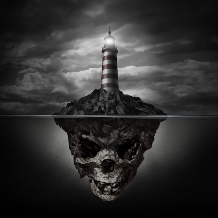 Photo pour Dangerous advice and bad direction concept as a glowing lighthouse beacon on a rock island shaped as an underwater human skull on a dark background as a metaphor for dishonesty and deception  - image libre de droit