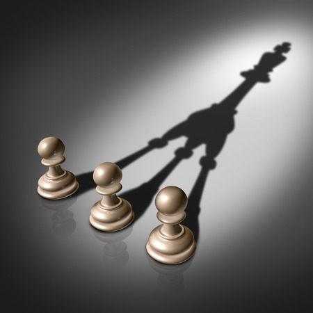 Photo pour Together success joining forces business concept for team leadership strategy as three chess pawn pieces casting a merging shadow shaped as the king representing teamwork partnership and successful group planning   - image libre de droit